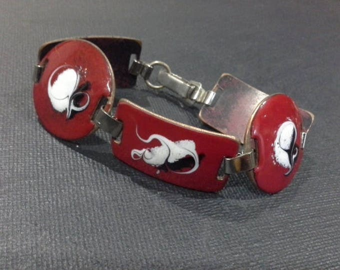 Vintage Retro Artisan Red White & Black Copper Enamel Bracelet Rectangular And Round Discs 1970's Unsigned