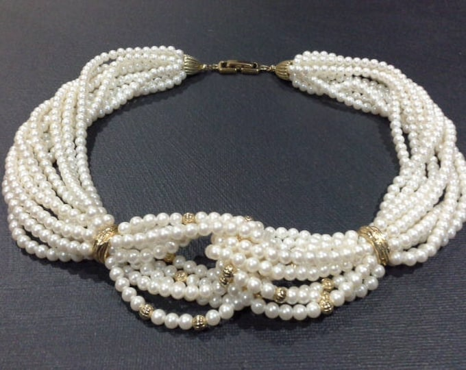 Vintage Multi Strand Antique White Love Knot Pearl & Gold Tone Beaded Choker Necklace