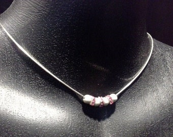 Vintage Sterling Silver 925 Choker Collar  Necklace Silver Beads & Pink Swarovski Crystal Beads Stamped Italy 925