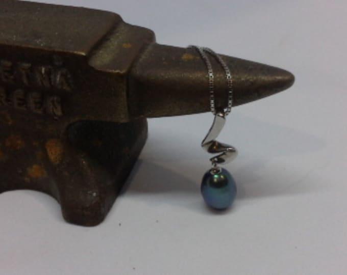 Vintage Solitaire Cultured Black Pearl & Sterling Silver 925 Modernist Design Pendant Necklace