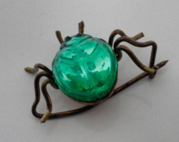 Antique Small Green Faceted Glass & Brass Scarab Beetle Bug Brooch