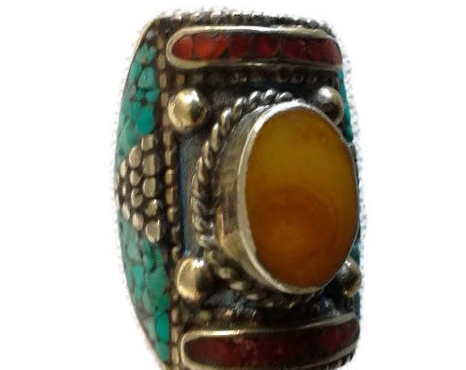 Vintage Handmade Tibetan Silver Saddle Ring Resin Amber Cabochon, Turquoise & Coral Chip Size 9