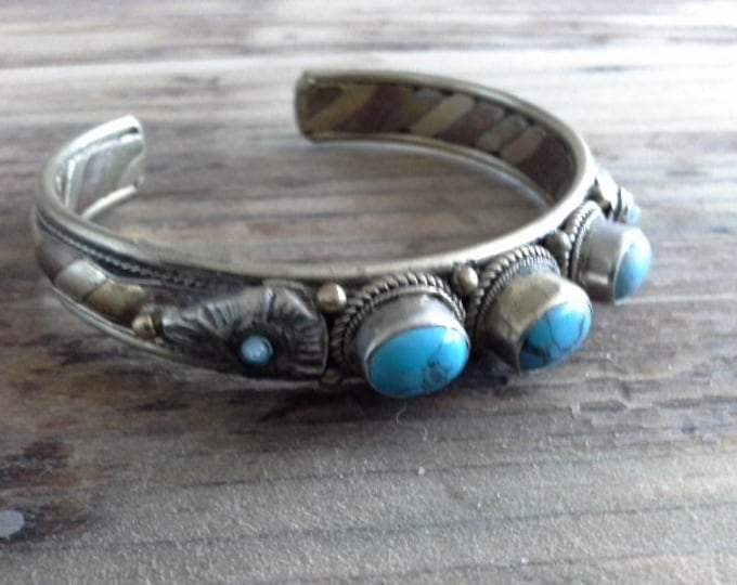 Antique Vintage Five Stone Turquoise Cuff Bangle Bracelet, Native American, Navajo Jewelry, Silver Copper & Brass Southwest