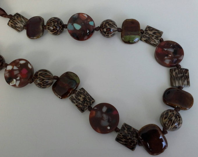 Earthen Leopard Printed Long Beaded Ribbon Necklace