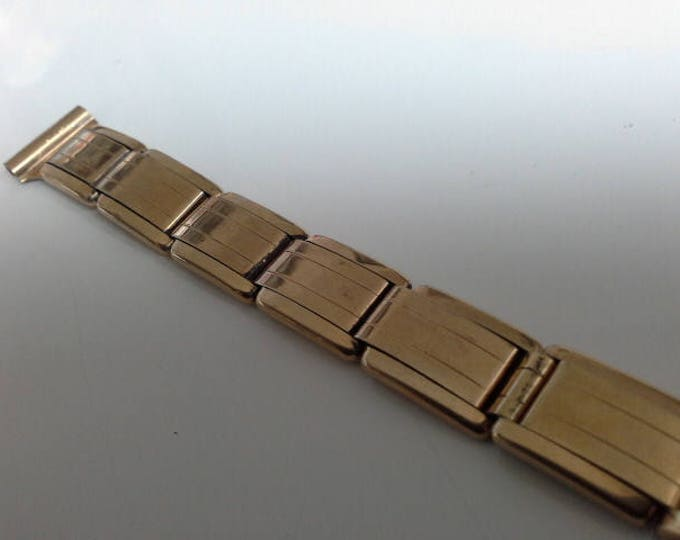 Art Deco Gold Watch Band by Wells 1/10 10K Geometric Expansion Watchband 15mm