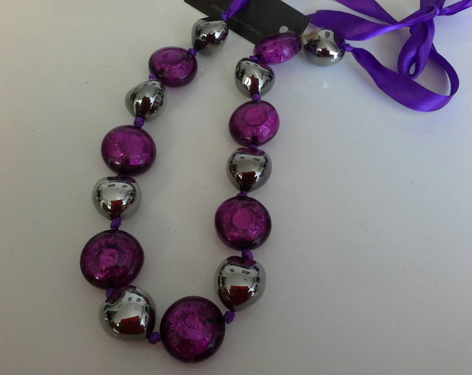 Chunky Purple & Gunmetal Silver Acrylic Resin Beaded Ribbon Necklace