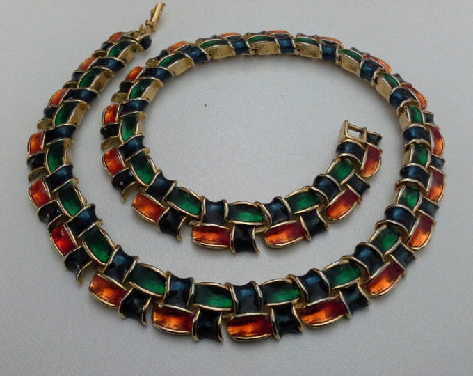 Seventies Basket Weave Choker Necklace Multi Coloured Enamel Red Blue Green on Gold Panel Link Vintage Retro
