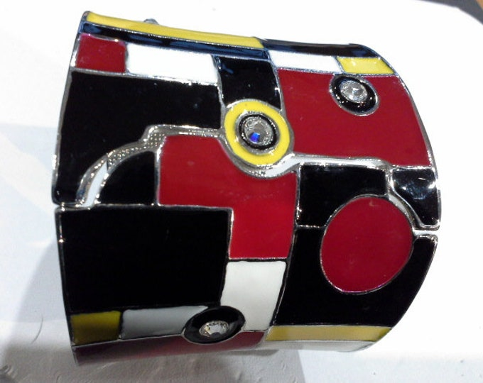 Vintage Mimco Cubist Cuff Bangle Red Black White & Yellow Enamel on Silver Chrome with Swarovski Crystals
