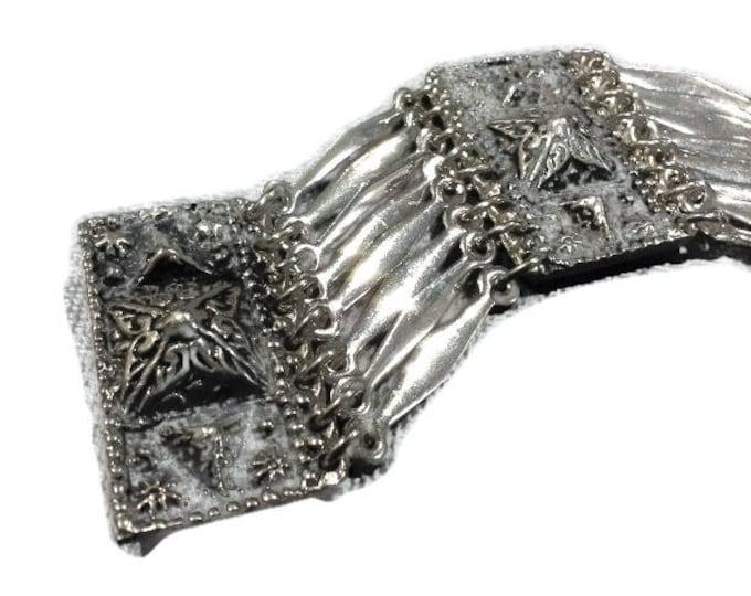Vintage Silver Panel Bracelet signed Hecho En Mexico