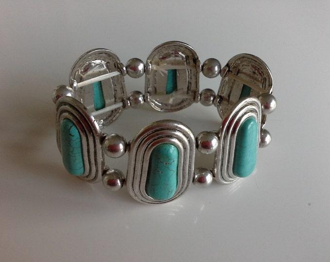 Vintage Turquoise & Silver Tone Stretch Bracelet Navajo Style