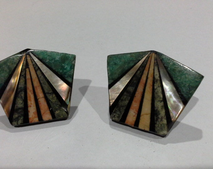Art Deco Geometric Resin Pentagon with Sunray Shell Inlay Clip On Earrings Artisan Hand Made