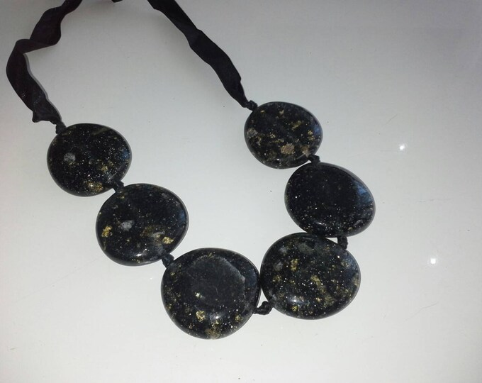 Chunky Black Acrylic Resin Beaded Ribbon Necklace with Gold Flake  and Silver Sparkle