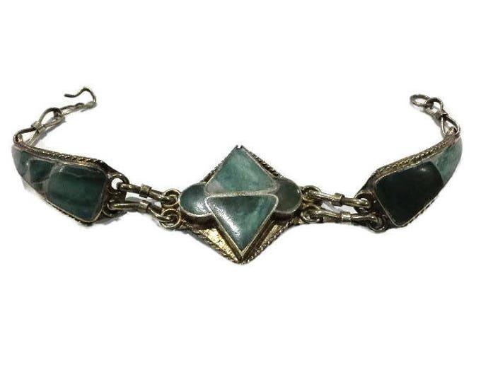Vintage Hand Made Native Artisan Silver & Aventurine Inlay Bracelet