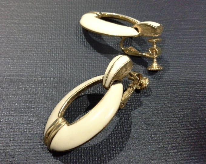 Vintage Napier Cream Enamel & Gold Tone Art Deco Style Screw Back Drop Earrings