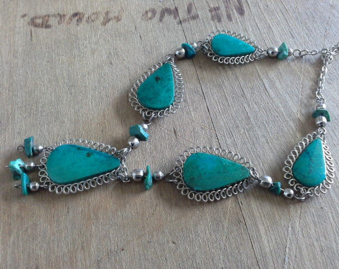 Vintage Native Tribal Turquoise & Silver Wire Work Necklace