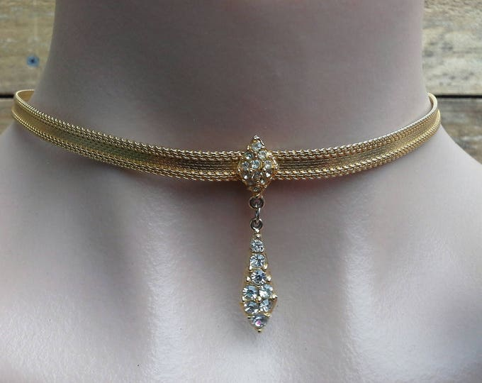 Vintage Gold Plate Ribbon Choker Necklace with Diamante Dangle Pendant Centre Piece c 1970s