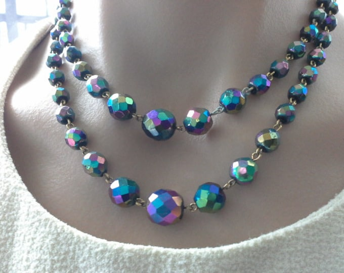 Art Deco Carnival Glass Bead Double Strand Necklace Vintage AB Aurora Borealis