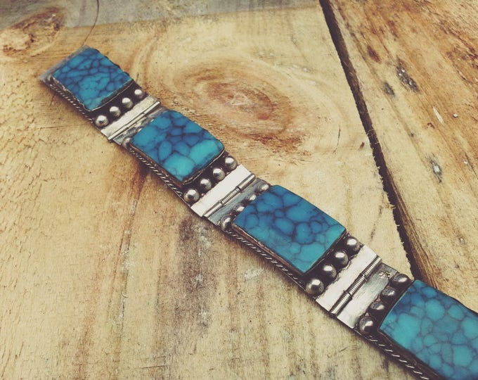 Mexico Sterling Silver 925 Hinged Bracelet Turquoise Celluloid Resin Plastic Panels Signed LLA Vintage