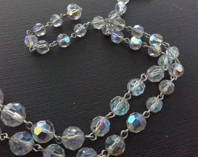 Vintage AB Aurora Borealis Swarovski Crystal Graduated Bead Choker Necklace Silver Wire Strung c 1950's