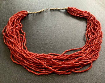 Vintage 20 Strand Natural Salmon Red Coral Seed Bead Torsade Necklace 23 inch