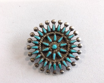 Signed MZR Old Pawn Zuni Needlepoint Turquoise & Sterling Silver Pin Brooch