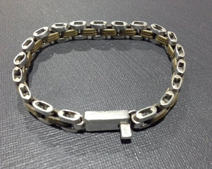 Vintage Laton Sterling Silver 925 & Brass Chain Link Bracelet Taxco Mexico