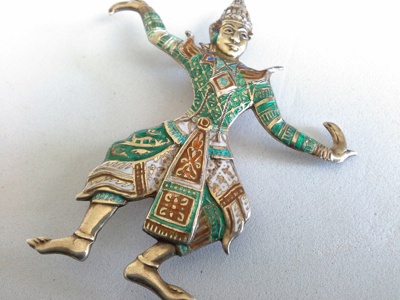 Significant Vintage Siam Sterling Silver & Enamel Figural image 0