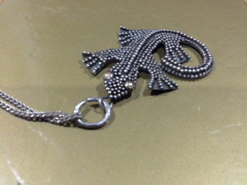 Vintage Iguana Lizard Charm Pendant Necklace Sterling Silver image 0