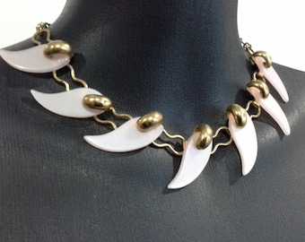 Vintage Pale Pink Early Plastic Comma Choker Collar Necklace Gold Plated Brass Figure 8 Chain Mid Century Modernist
