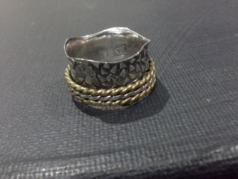 Thick Hand Made Hammered  Sterling Silver Band with Three image 0