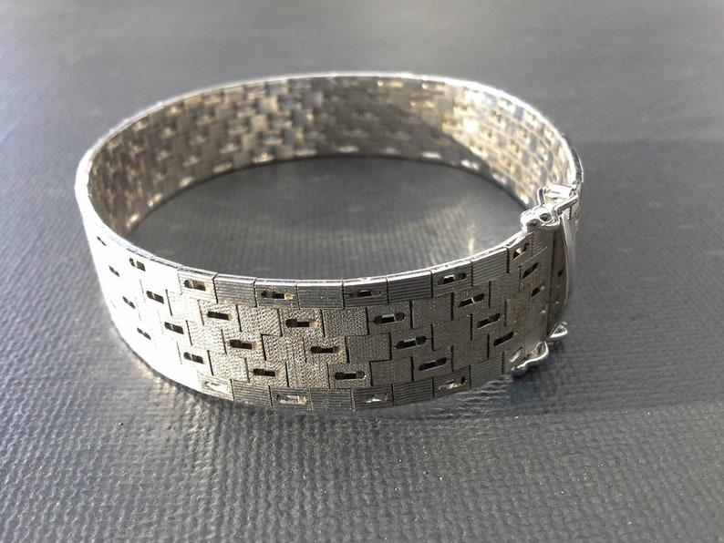 Vintage Silver 835 Interlocking Link Bracelet Mid Century image 0