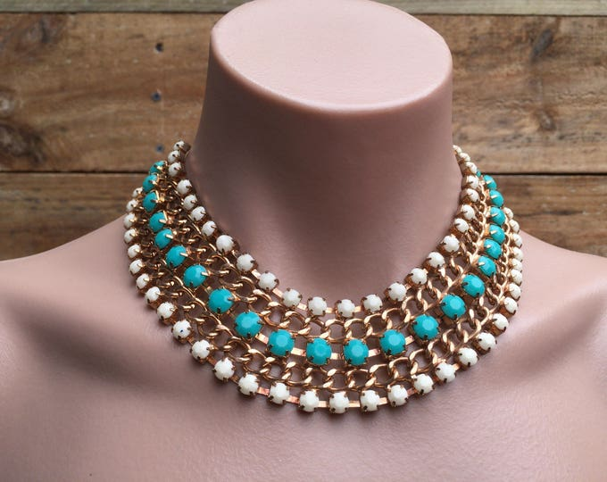 Vintage Gold Tone Chain Link Bib Necklace White & Turquoise Resin Stone Accents