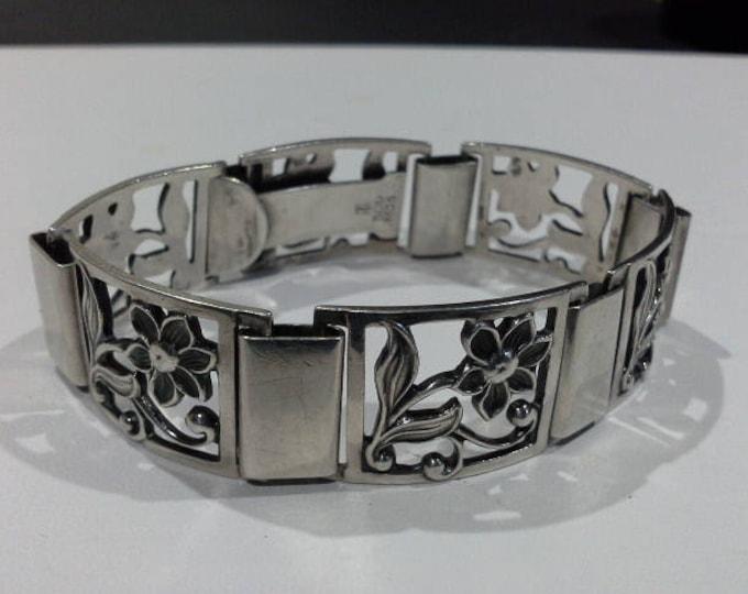 Thor Selzer Madsen Flower Bracelet Danish Designer Modernist Mid Century Square Link Signed TSM 309 830s Copenhagen Denmark