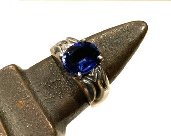 Vintage 1.85Ct Blue Sapphire 925 Sterling Silver Ring Size 7.5