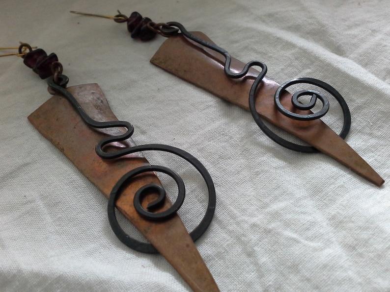 Kinetic Hand Made Artisan Copper Earrings Modernist Brutalist image 0