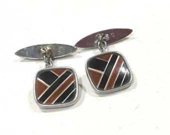 Art Deco Silver Chrome & Enamel Cufflinks Cuff Links Black Brown Geometric Design  Made in England c 1930s