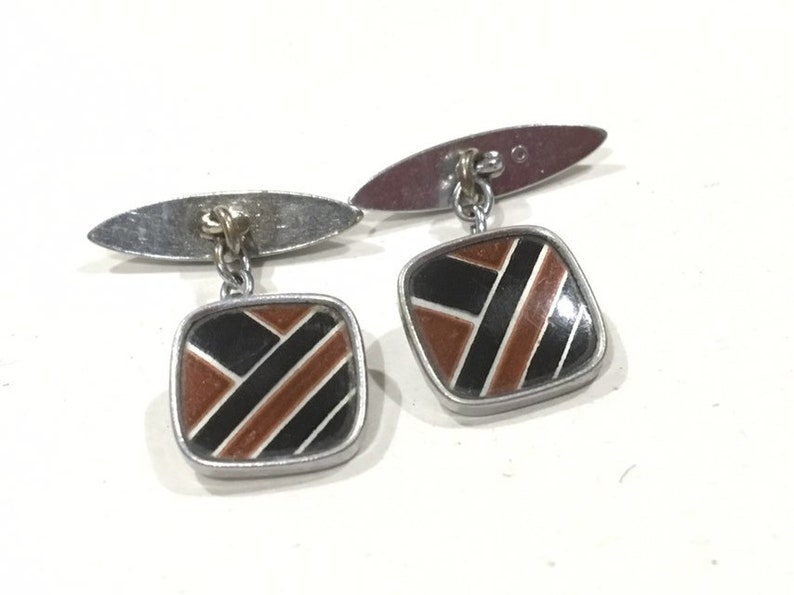 Art Deco Silver & Enamel Cufflinks Cuff Links Black and Brown image 0