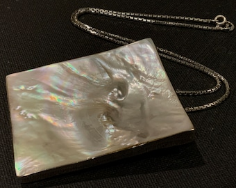 Vintage Large Mother Of Pearl Sterling Silver 925 Pendant on Box Link Chain Necklace 925