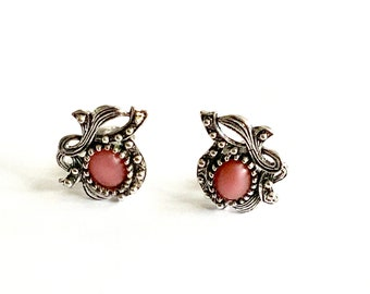 Vintage Pink Glass Moonstone & Antiqued Silver Tone Clip on Earrings