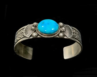 GUY HOSKIE, Navajo Exquisite  Turquoise & Sterling Silver Cuff Bracelet 17cm Native American Stamped G H Sterling