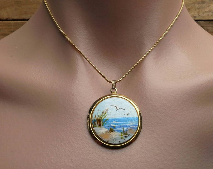 Signed Vintage Handpainted Artisan Ceramic Beach Scene Pendant on Gold Tone Chain Necklace
