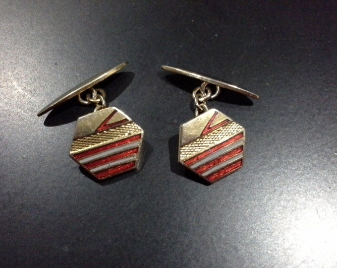 Vintage Art Deco Hexagonal Geometric Gold Tone and Red Accent Cufflinks