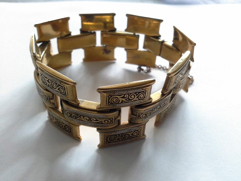 Victorian Etruscan Book Chain Bracelet with Black & White image 0