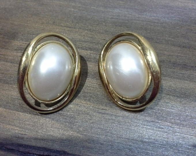 Vintage Barcs Gold Tone & Imitation Pearl Cabochon Stud Earrings c 1970 80s