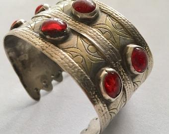Antique Turkomen Tekke Bilezik Silver & Gold Carnelian Jewels Tribal Cuff Bracelet Bangle