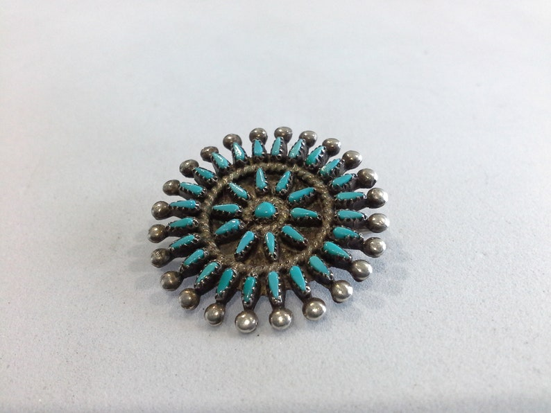 Signed MZR Old Pawn Zuni Needlepoint Turquoise /& Sterling Silver Pin Brooch