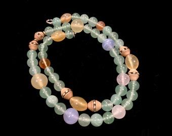 Vintage Oriental Multi Coloured Transparent Jadeite Jade Necklace 50cm