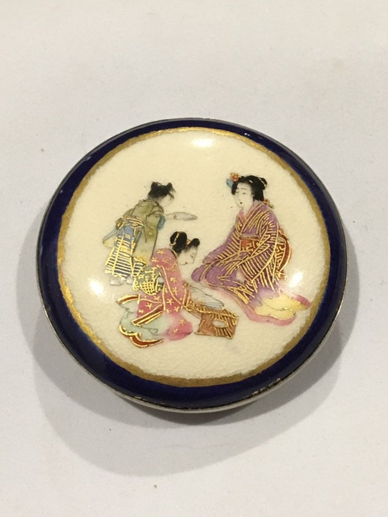 Old Antique Japanese Round Geisha Girls Porcelain Satsuma Belt image 0