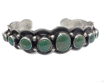 Albert Payton Navajo Green Turquoise & Sterling Silver Cuff Bracelet Bangle Signed, Coin Silver 16cm 6.4inches