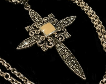Vintage Chapal ZenRay Large Sterling Silver 925 Marcasite Celtic Cross Pendant & Belcher Chain Necklace Stamped NF 925